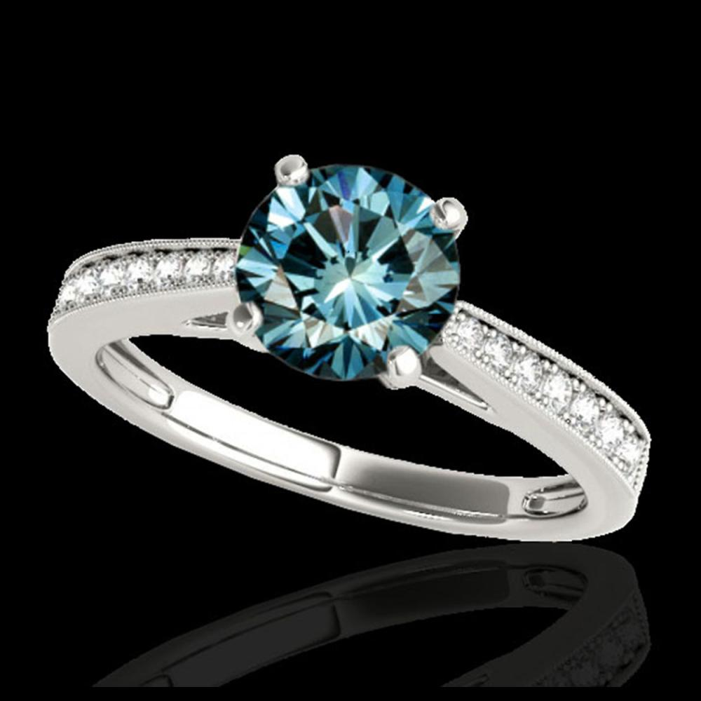 1.25 ctw SI Fancy Blue Diamond Solitaire Ring 10K White Gold - REF-118A6V - SKU:35010