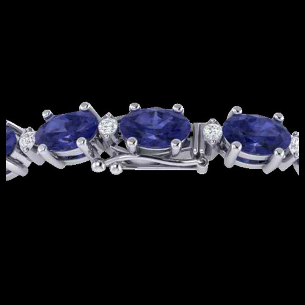 26.3 ctw Tanzanite & VS/SI Diamond Eternity Bracelet 10K White Gold - REF-345F5N - SKU:29463
