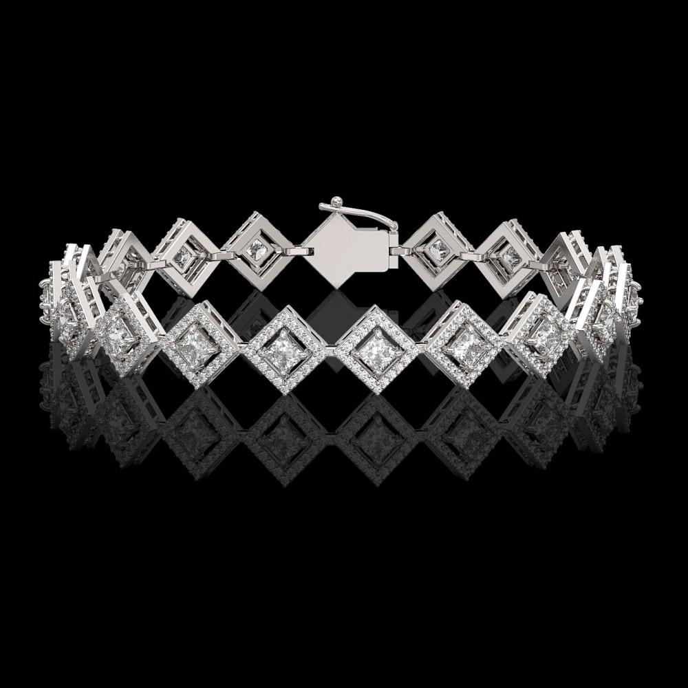 7.2 ctw Princess Diamond Bracelet 18K White Gold - REF-617X3R - SKU:42968