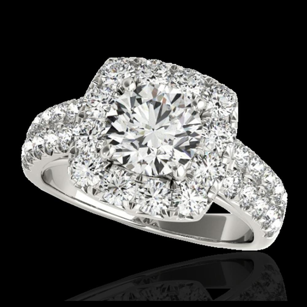 2.25 ctw H-SI/I Diamond Solitaire Halo Ring 10K White Gold - REF-238M6F - SKU:33634