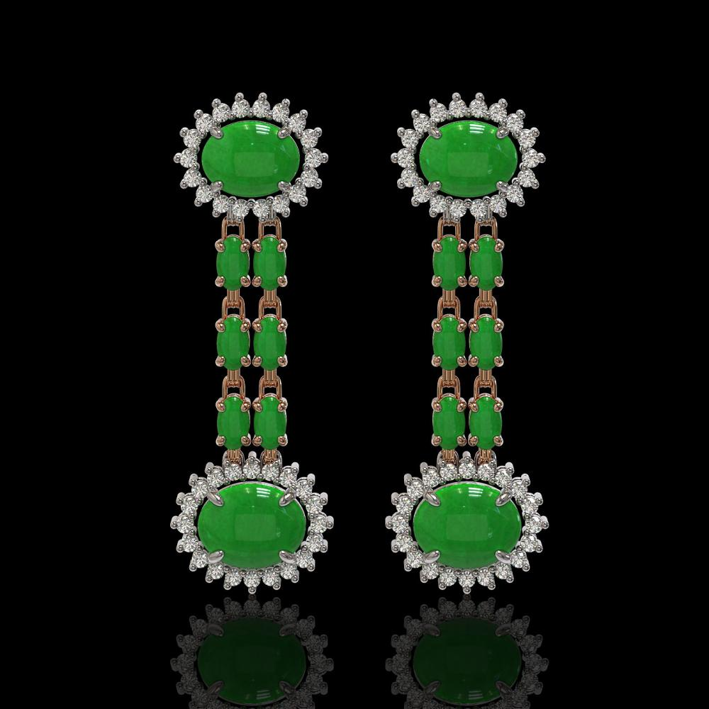 8.07 ctw Jade & Diamond Earrings 14K Rose Gold - REF-144Y7X - SKU:44337
