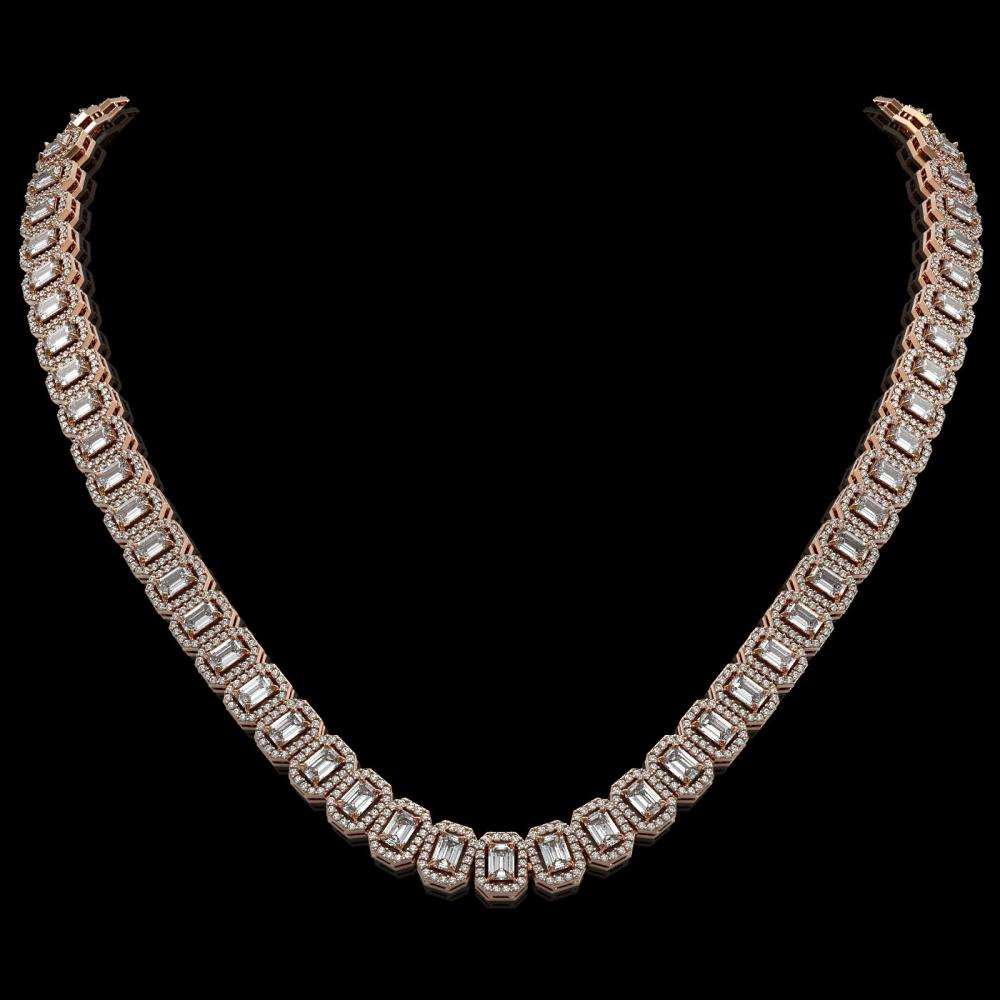 26.11 ctw Emerald Diamond Necklace 18K Rose Gold - REF-3101A2V - SKU:42984
