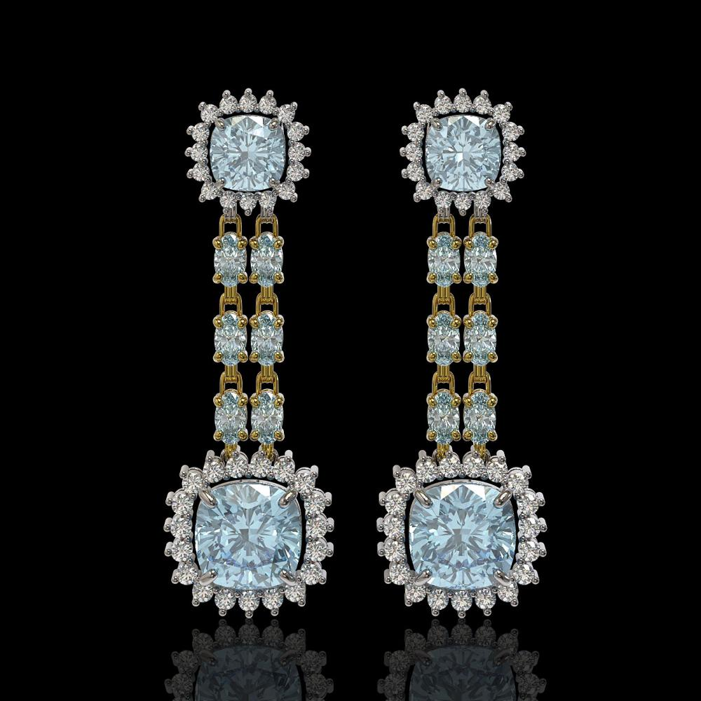 16.22 ctw Aquamarine & Diamond Earrings 14K Yellow Gold - REF-321W3H - SKU:44935