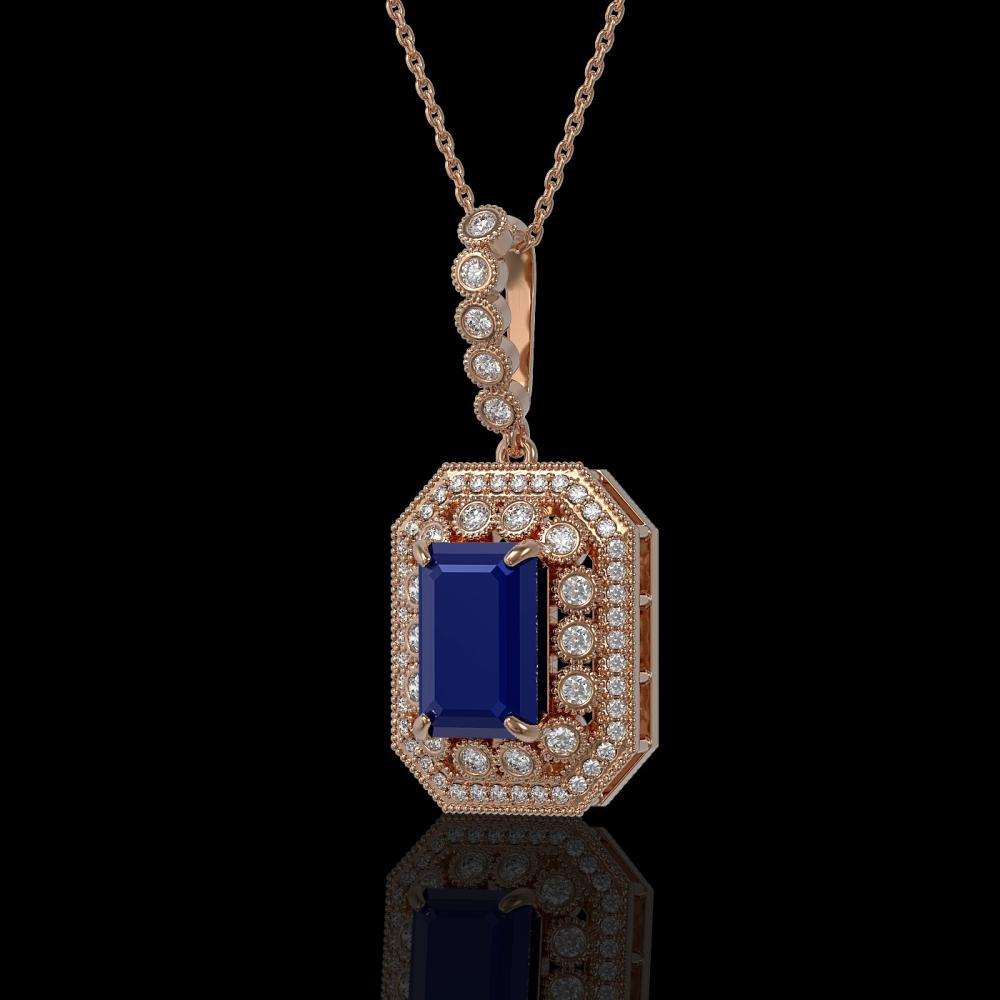 7.18 ctw Sapphire & Diamond Necklace 14K Rose Gold - REF-159R3K - SKU:43443