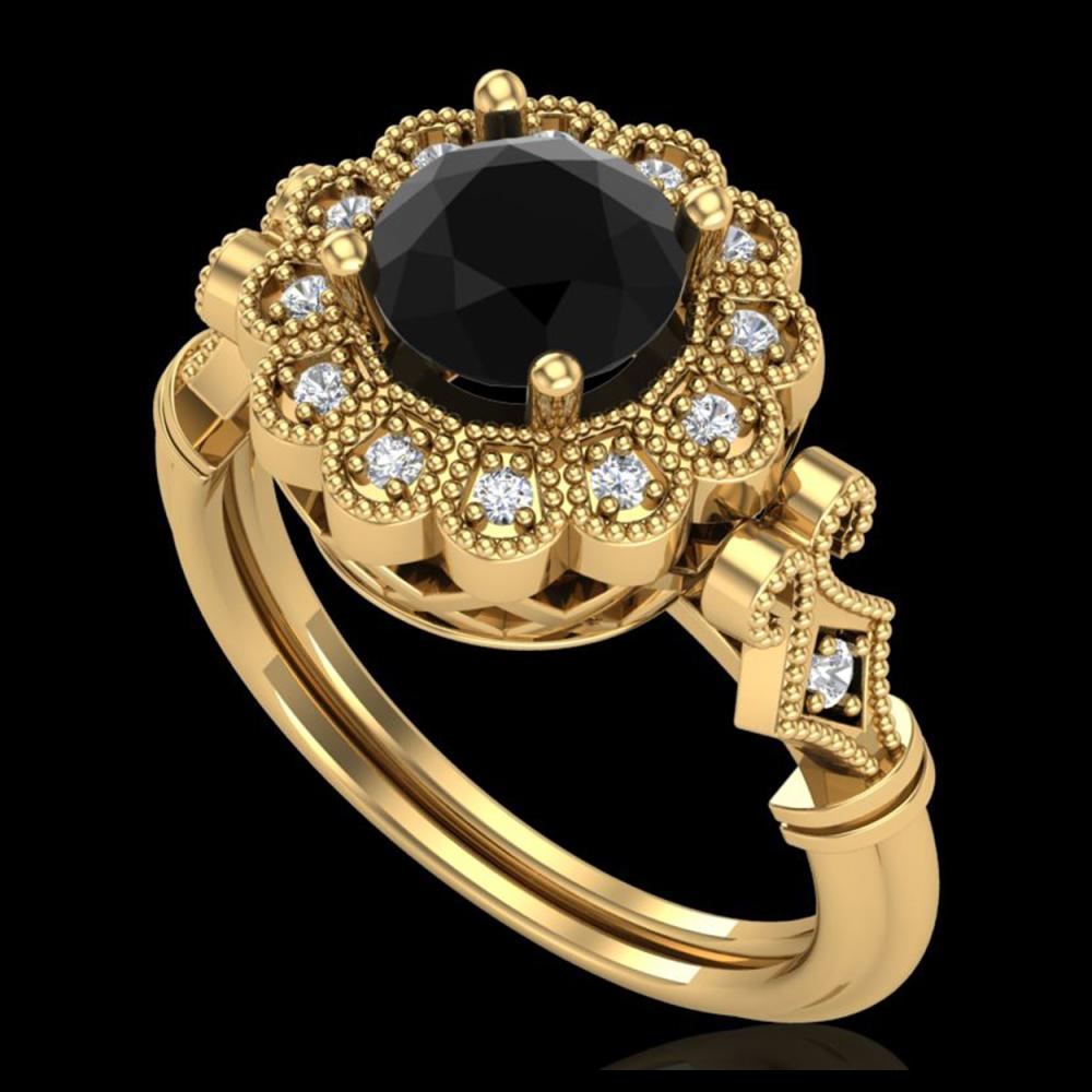 1.20 ctw Fancy Black Diamond Art Deco Ring 18K Yellow Gold - REF-123X6R - SKU:37830