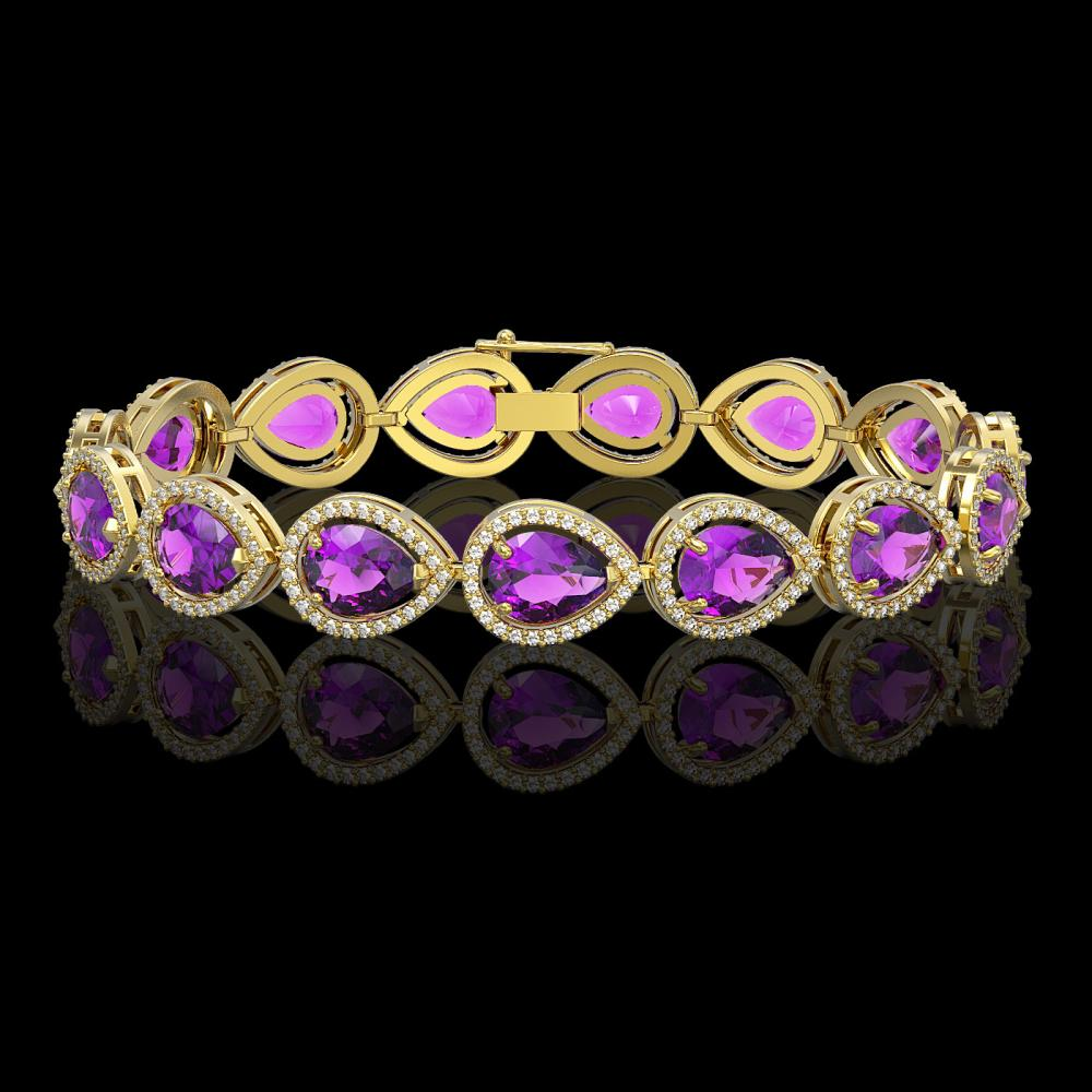 20.3 ctw Amethyst & Diamond Halo Bracelet 10K Yellow Gold - REF-282K9W - SKU:41275