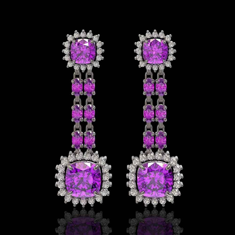 18.96 ctw Amethyst & Diamond Earrings 14K White Gold - REF-222N2A - SKU:44948