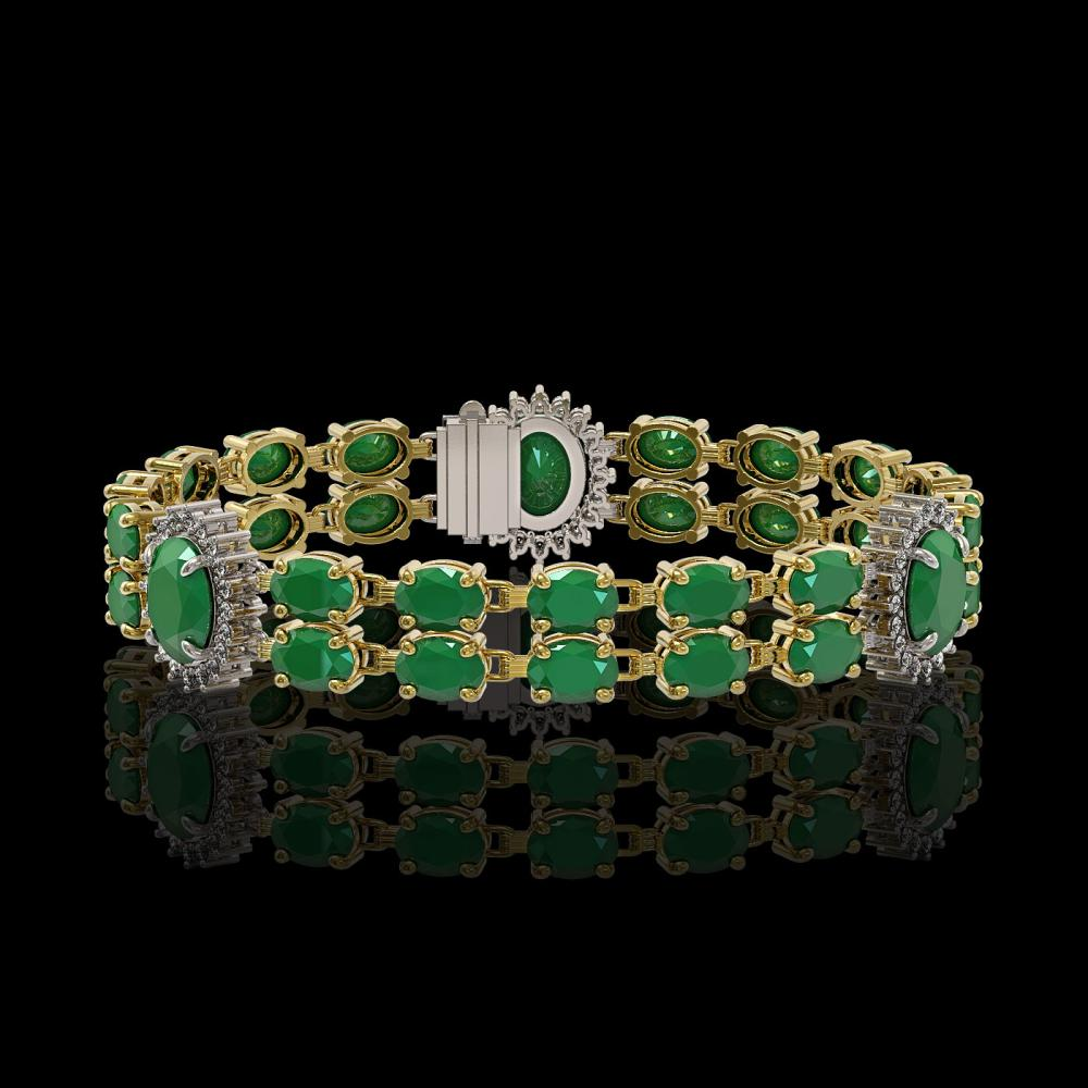 20.99 ctw Emerald & Diamond Bracelet 14K Yellow Gold - REF-197R7K - SKU:44227