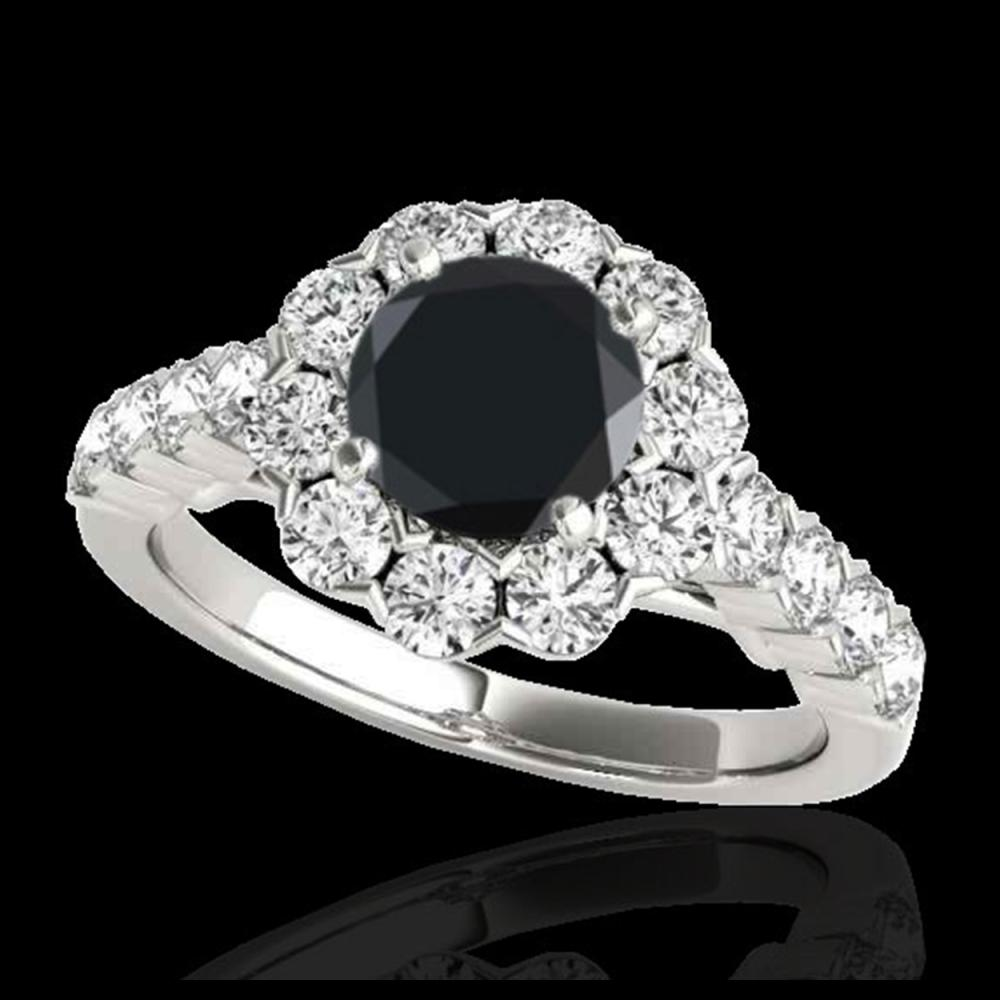 3 ctw VS Black Diamond Solitaire Halo Ring 10K White Gold - REF-103R6K - SKU:33556