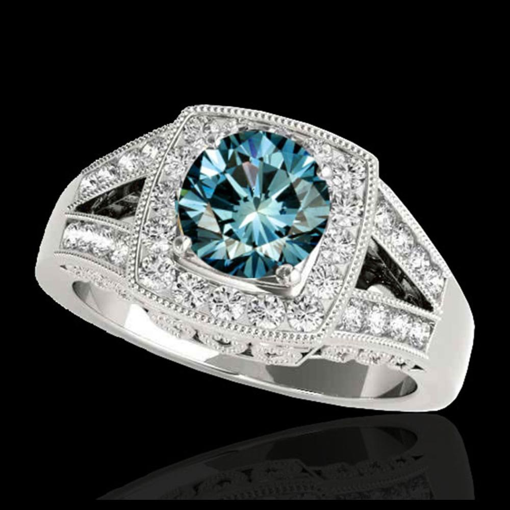 1.65 ctw SI Fancy Blue Diamond Halo Ring 10K White Gold - REF-175X2R - SKU:34464
