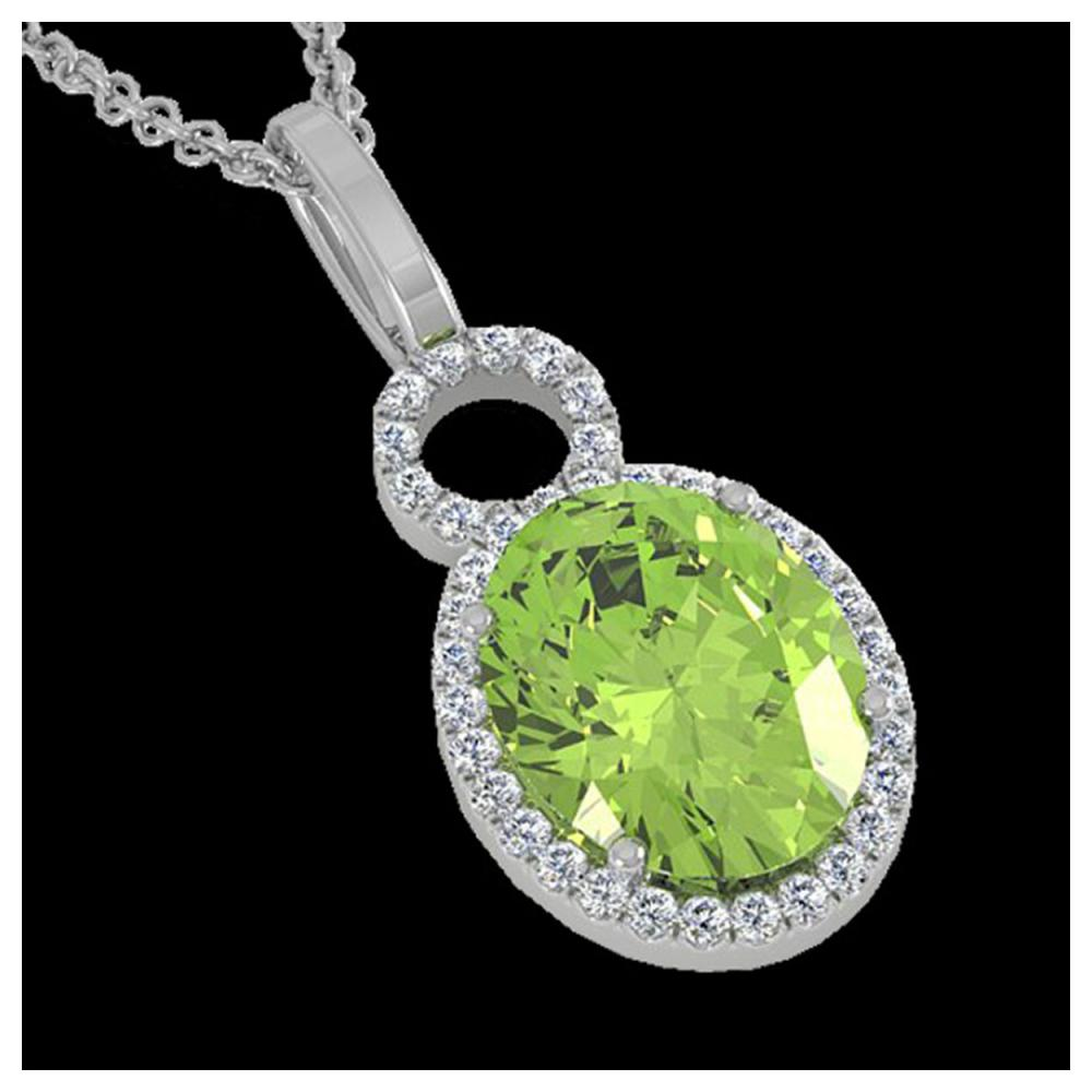 3 ctw Peridot & Halo VS/SI Diamond Necklace 14K White Gold - REF-53M6F - SKU:22766