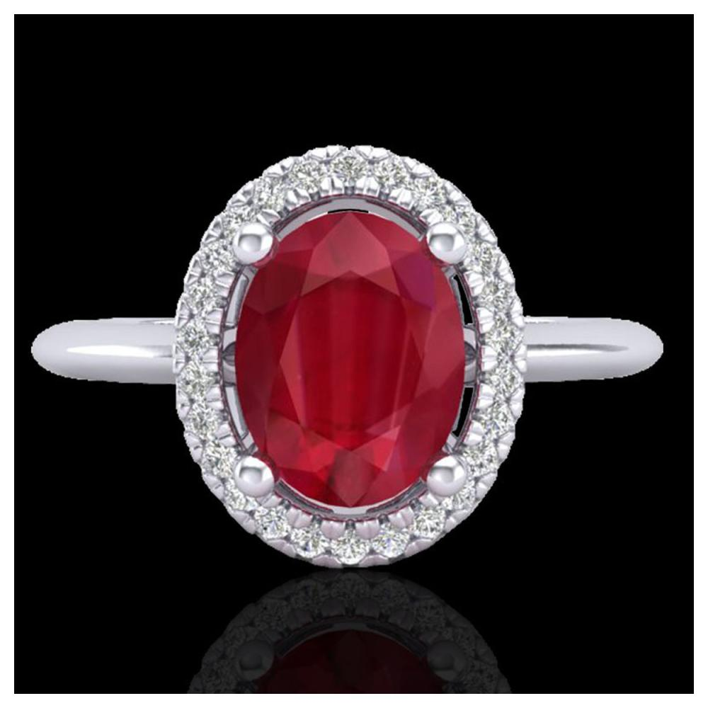 2 ctw Ruby & VS/SI Diamond Ring Halo 18K White Gold - REF-52R7K - SKU:21018