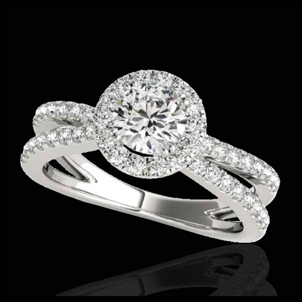 1.55 ctw H-SI/I Diamond Solitaire Halo Ring 10K White Gold - REF-210Y2X - SKU:33846