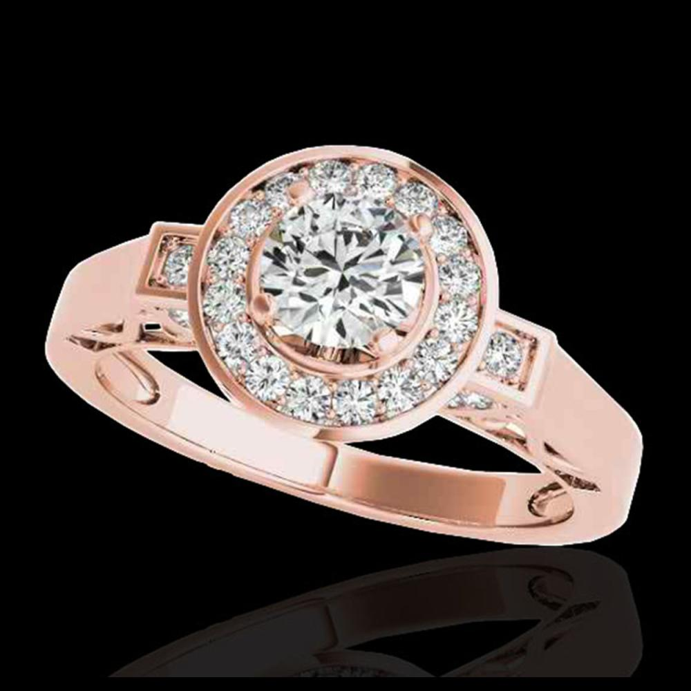 1.50 ctw H-SI/I Diamond Solitaire Halo Ring 10K Rose Gold - REF-204V5Y - SKU:34568