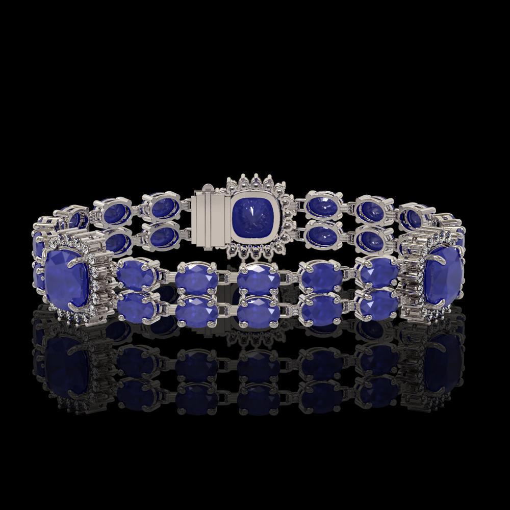21.83 ctw Sapphire & Diamond Bracelet 14K White Gold - REF-270A2V - SKU:44744