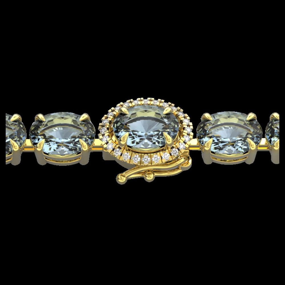 15.25 ctw Aquamarine & Diamond Eternity Bracelet 14K Yellow Gold - REF-176A4V - SKU:40223