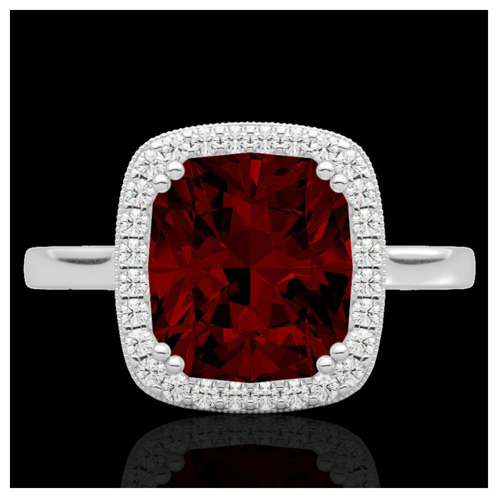 3 ctw Garnet & VS/SI Diamond Ring 18K White Gold - REF-48K5W - SKU:22843