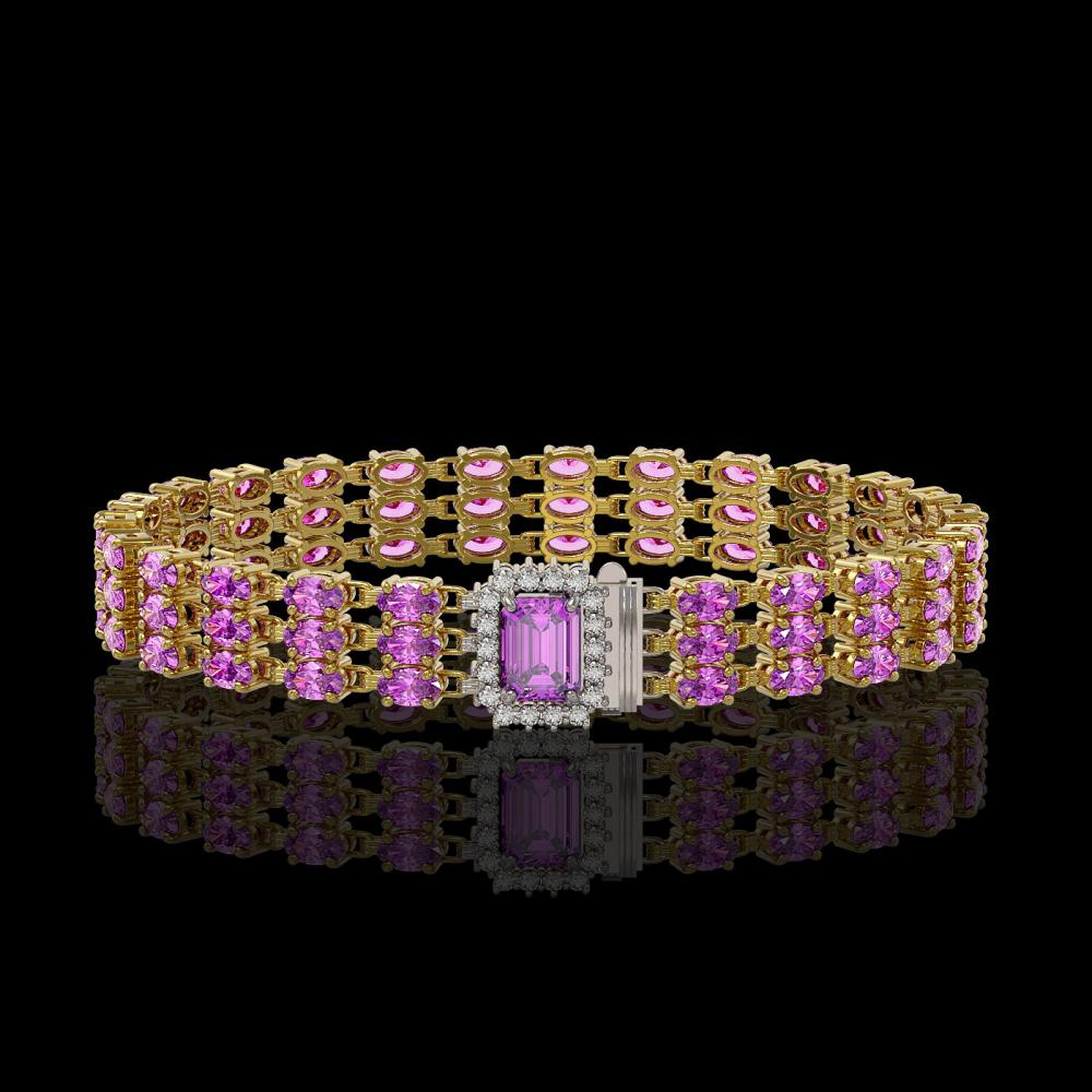 20.93 ctw Amethyst & Diamond Bracelet 14K Yellow Gold - REF-227A3V - SKU:45976