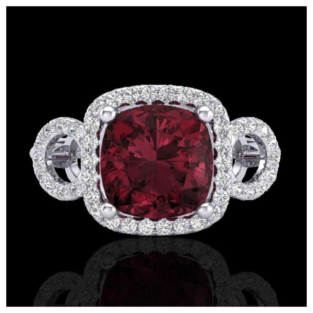 3.75 ctw Garnet & VS/SI Diamond Ring 18K White Gold - REF-65R3K - SKU:23003