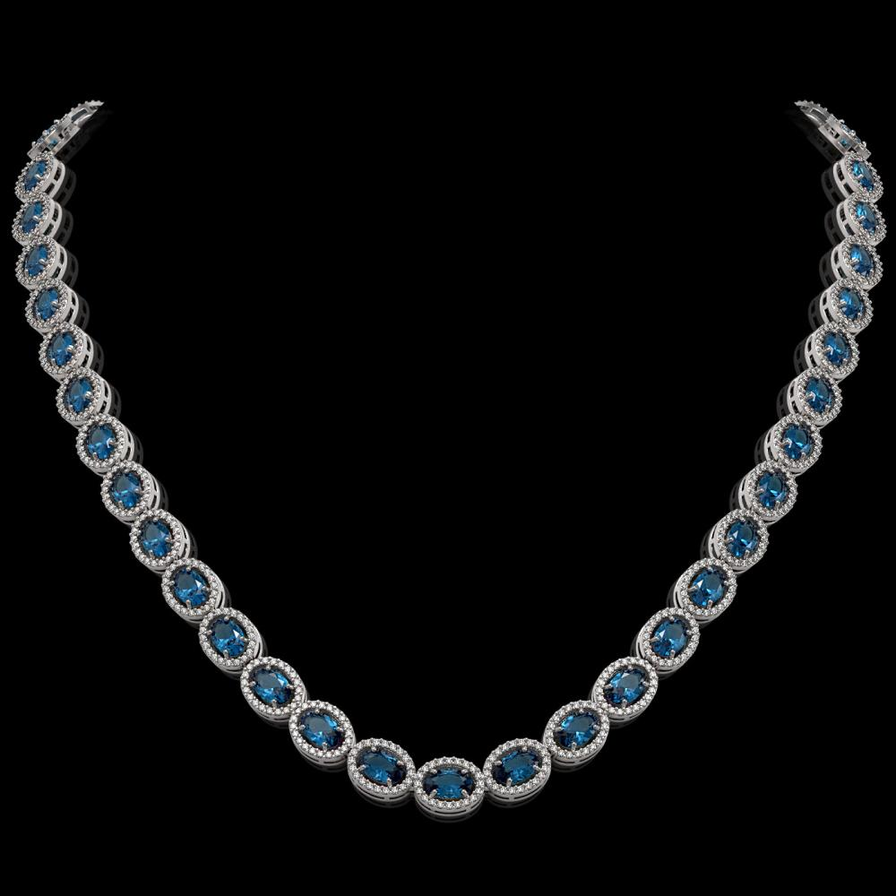 33.25 ctw London Topaz & Diamond Halo Necklace 10K White Gold - REF-511R3K - SKU:40436