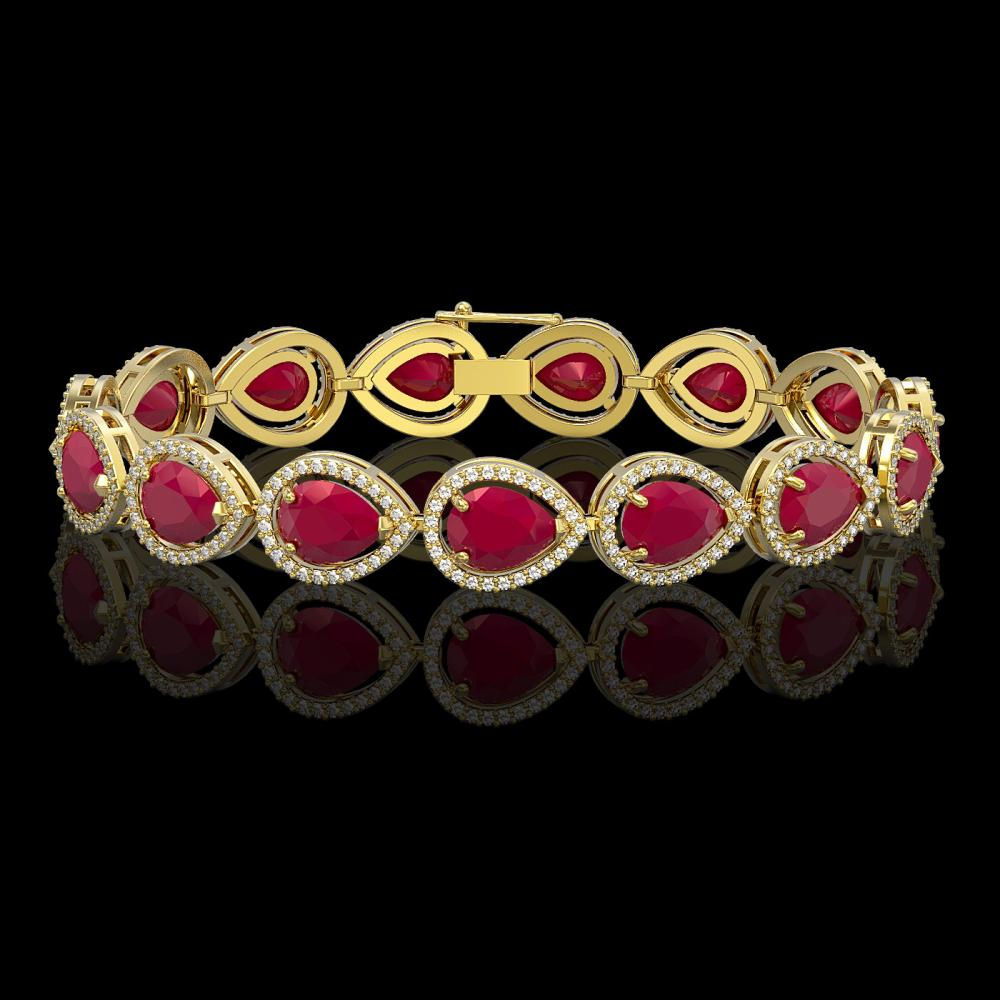 30.06 ctw Ruby & Diamond Halo Bracelet 10K Yellow Gold - REF-368H5M - SKU:41239