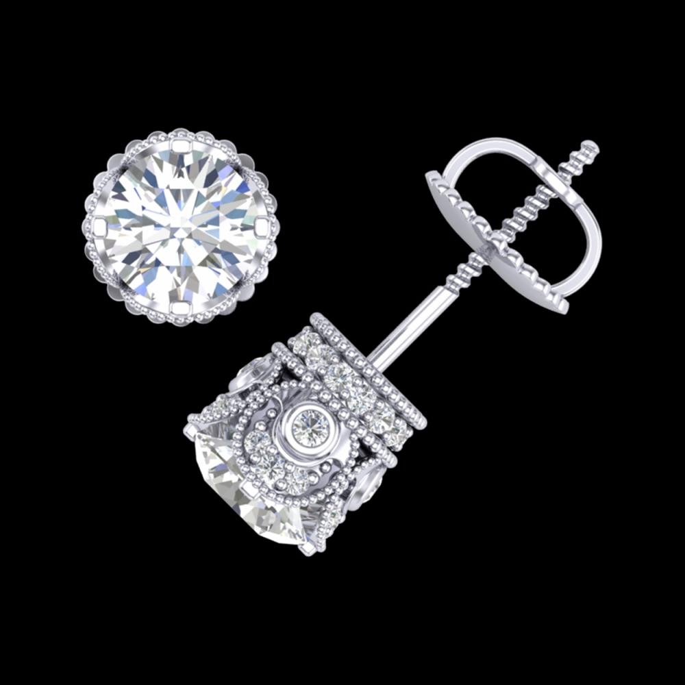 1.85 ctw VS/SI Diamond Solitaire Art Deco Stud Earrings 18K White Gold - REF-261W8H - SKU:36857