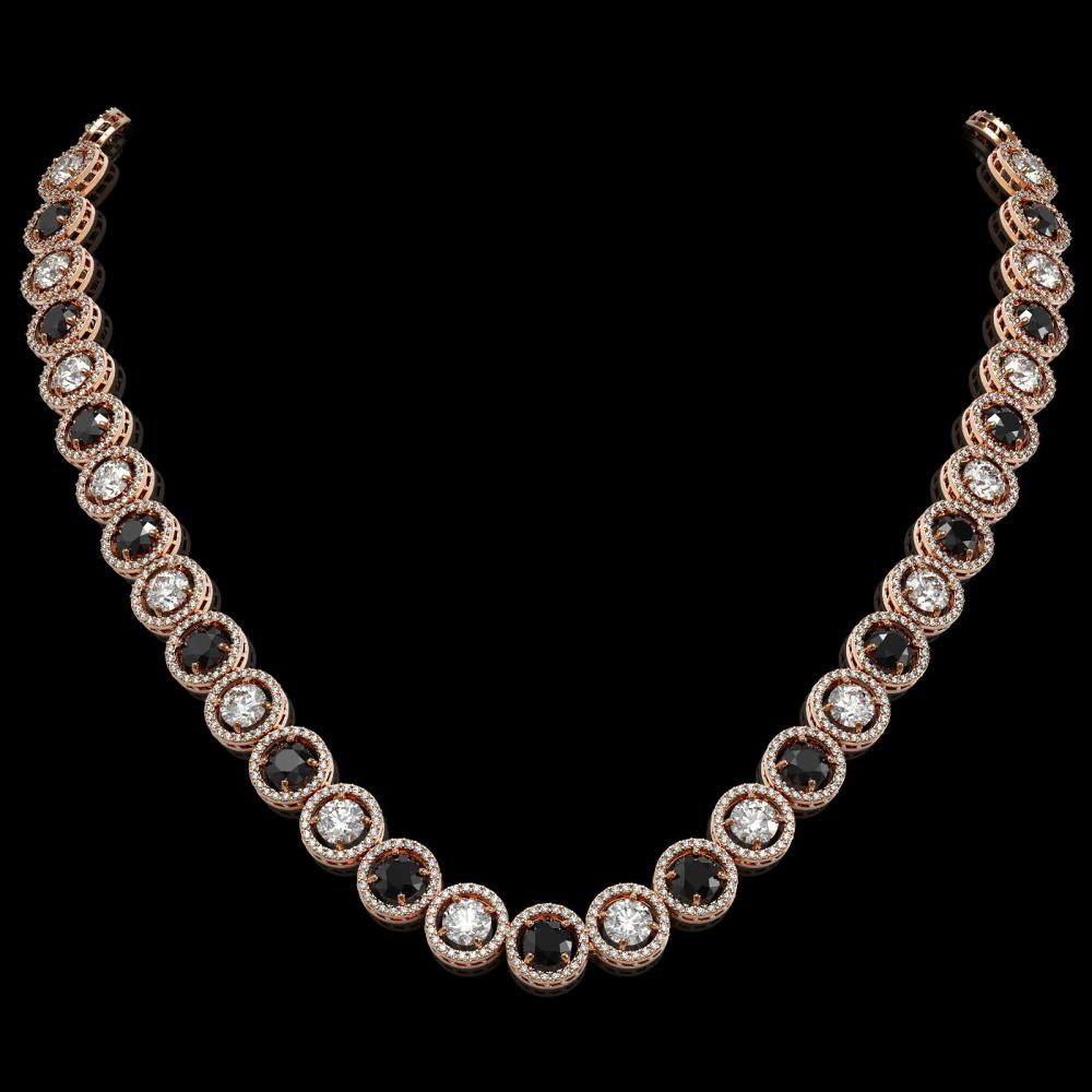 32.10 ctw Black & Diamond Necklace 18K Rose Gold - REF-2386A4V - SKU:42606