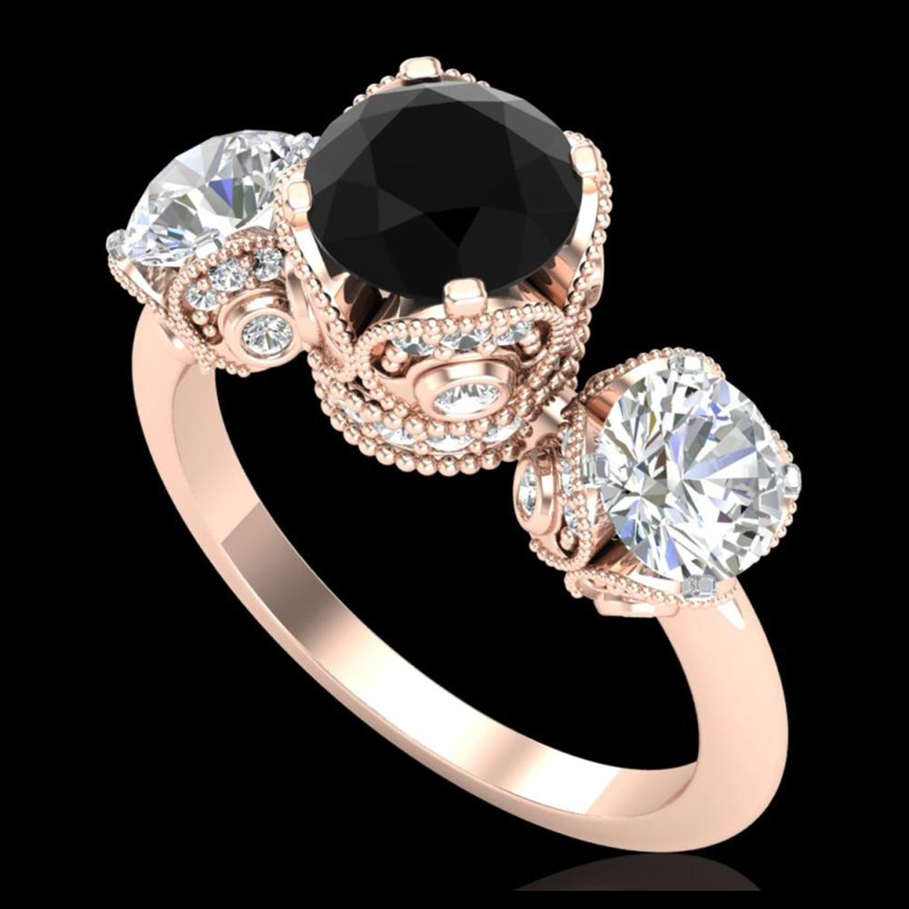 3 ctw Fancy Black Diamond Art Deco 3 Stone Ring 18K Rose Gold - REF-318N2A - SKU:37430
