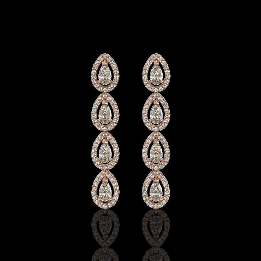 3.84 ctw Pear Diamond Earrings 18K Rose Gold - REF-334H6M - SKU:42918