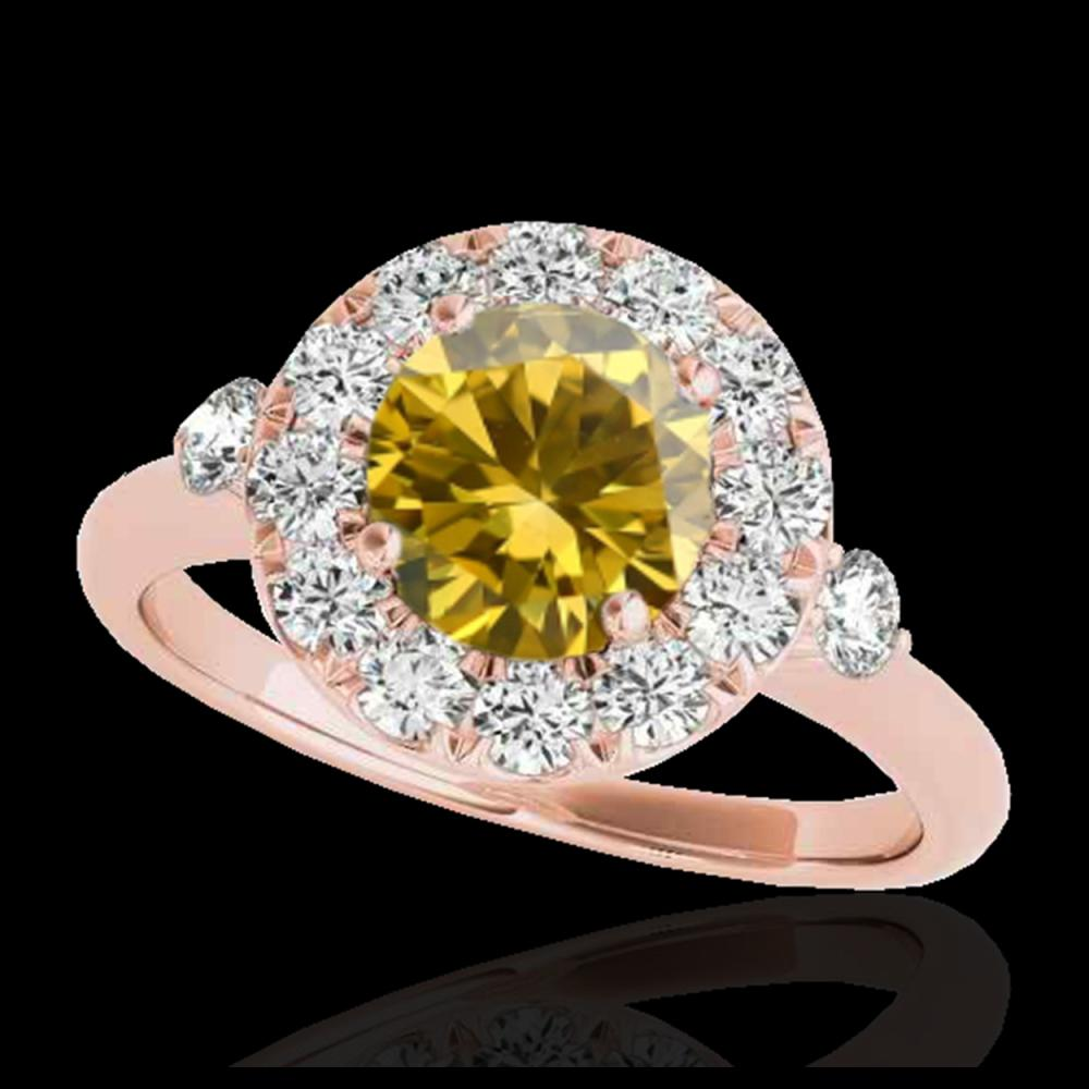 1.50 ctw SI/I Fancy Intense Yellow Diamond Ring 10K Rose Gold - REF-184F3N - SKU:33462