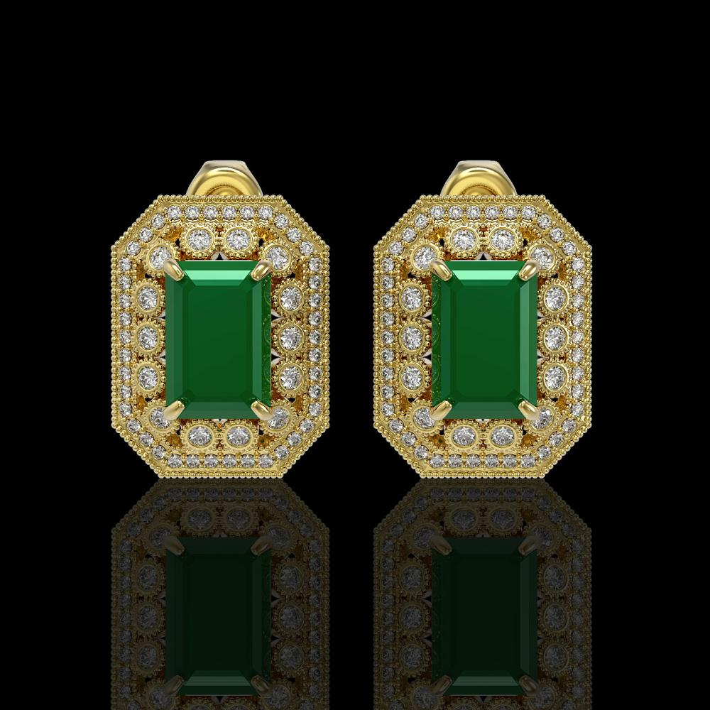 13.75 ctw Emerald & Diamond Earrings 14K Yellow Gold - REF-266N4A - SKU:43414