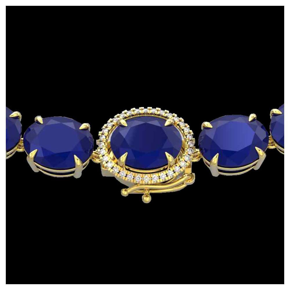 170 ctw Sapphire & VS/SI Diamond Halo Necklace 14K Yellow Gold - REF-685N3A - SKU:22315
