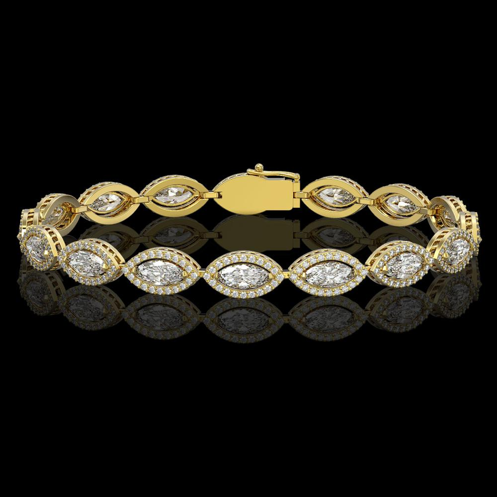 10.61 ctw Marquise Diamond Bracelet 18K Yellow Gold - REF-1459V6Y - SKU:42655