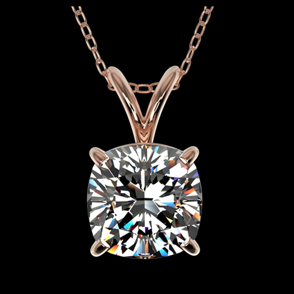 1.25 ctw VS/SI Cushion Diamond Necklace 10K Rose Gold - REF-397K5W - SKU:33218
