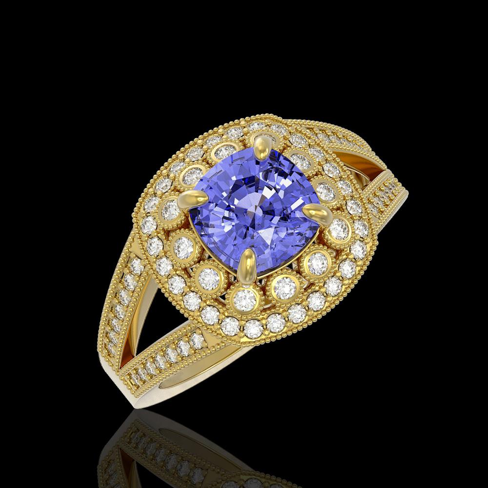 2.74 ctw Tanzanite & Diamond Ring 14K Yellow Gold - REF-116H9M - SKU:44035