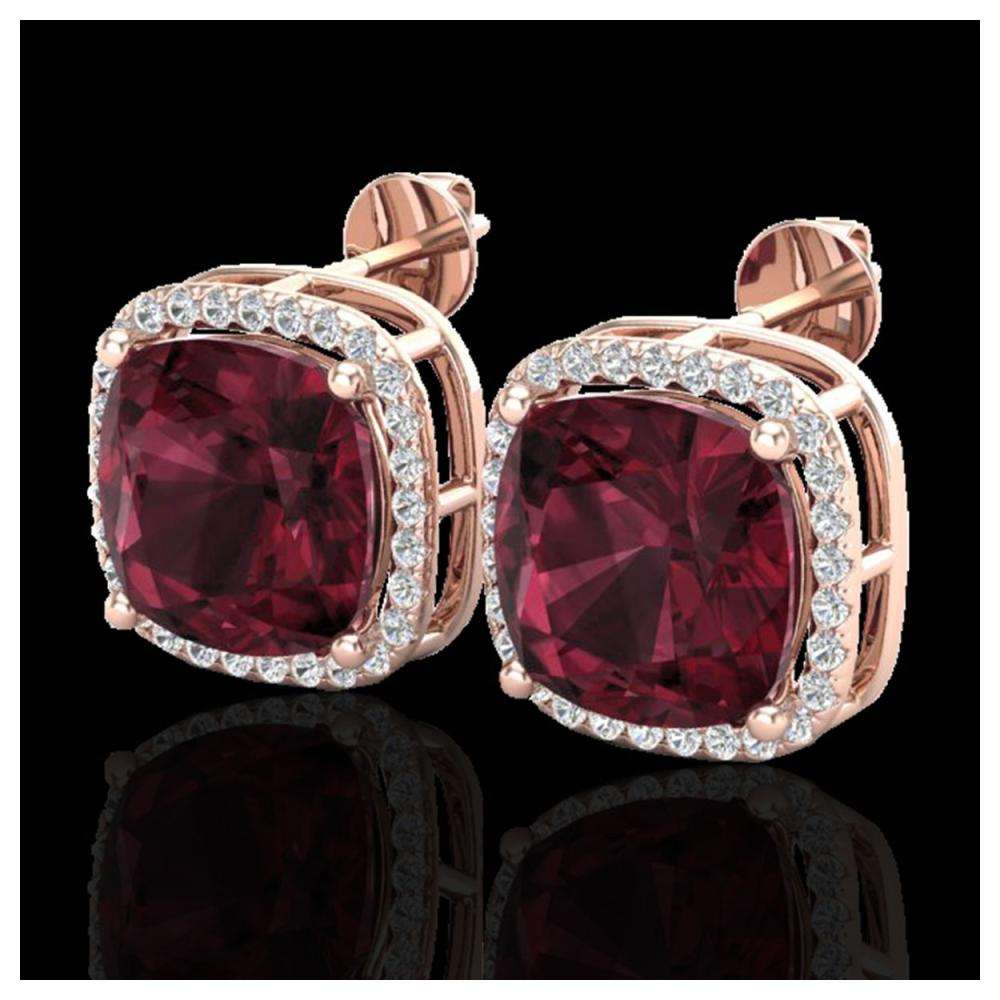 12 ctw Garnet & Halo VS/SI Diamond Earrings 14K Rose Gold - REF-73X3R - SKU:23064