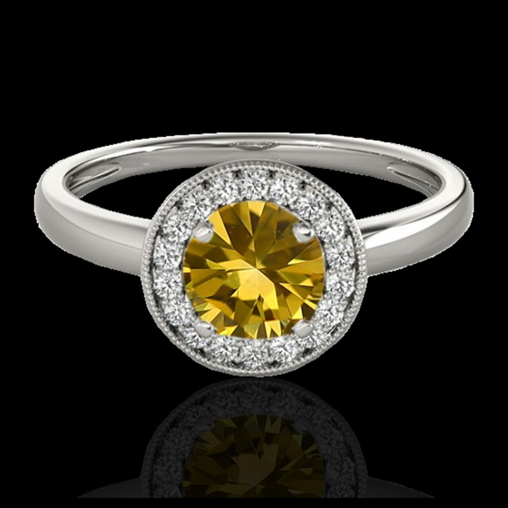 1.15 ctw SI/I Fancy Intense Yellow Diamond Ring 10K White Gold - REF-190R9K - SKU:33470