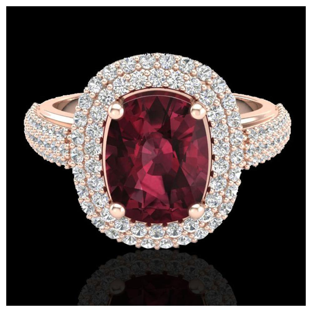 3.10 ctw Garnet & VS/SI Diamond Ring 10K Rose Gold - REF-100Y2X - SKU:20711