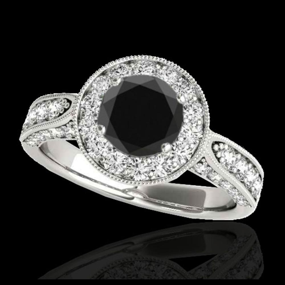 2 ctw VS Black Diamond Solitaire Halo Ring 10K White Gold - REF-80X6R - SKU:34498