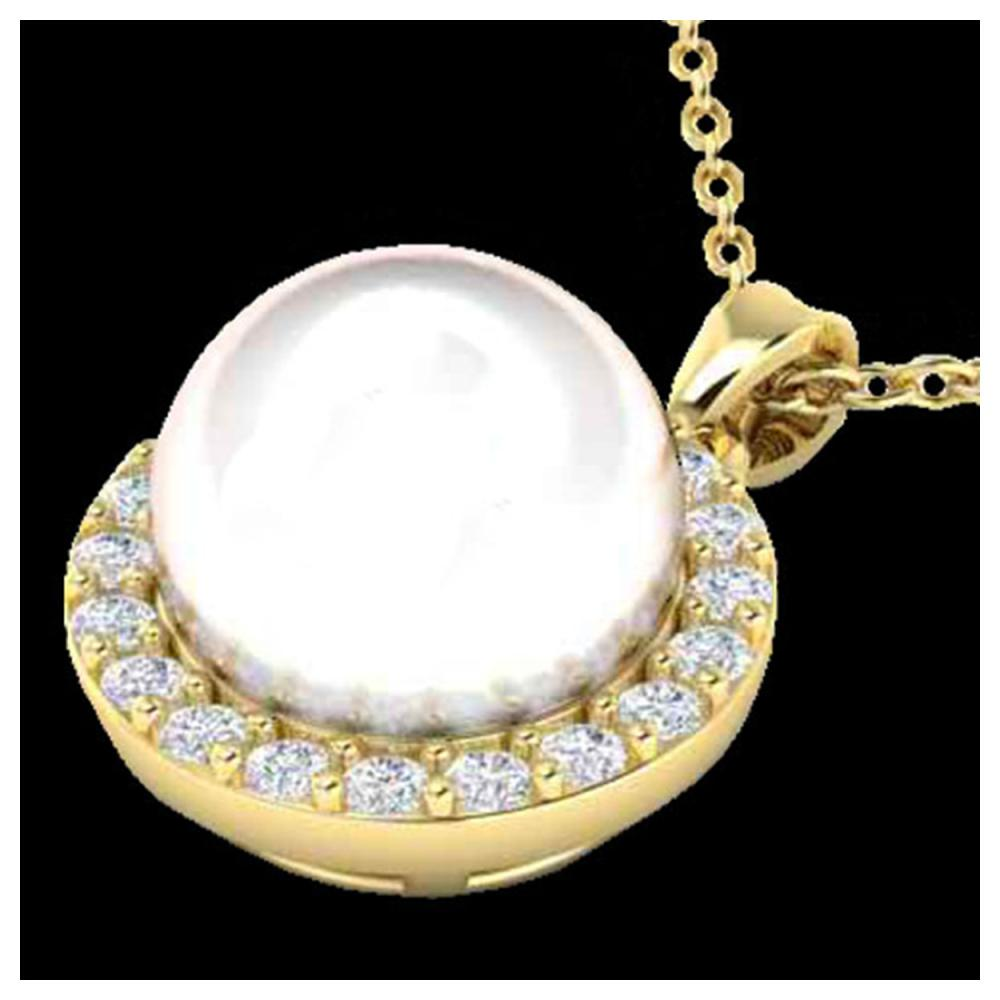 0.25 ctw VS/SI Diamond & White Pearl Necklace 18K Yellow Gold - REF-40N9A - SKU:21579