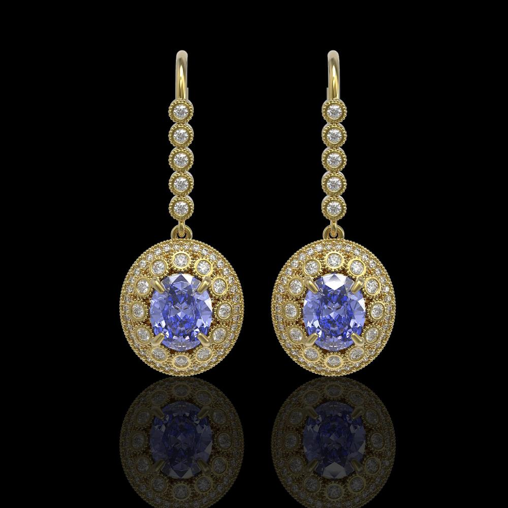 9.47 ctw Tanzanite & Diamond Earrings 14K Yellow Gold - REF-315W6H - SKU:43612