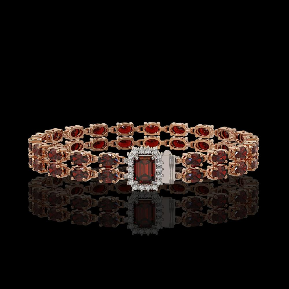 14.45 ctw Garnet & Diamond Bracelet 14K Rose Gold - REF-168M5F - SKU:45753