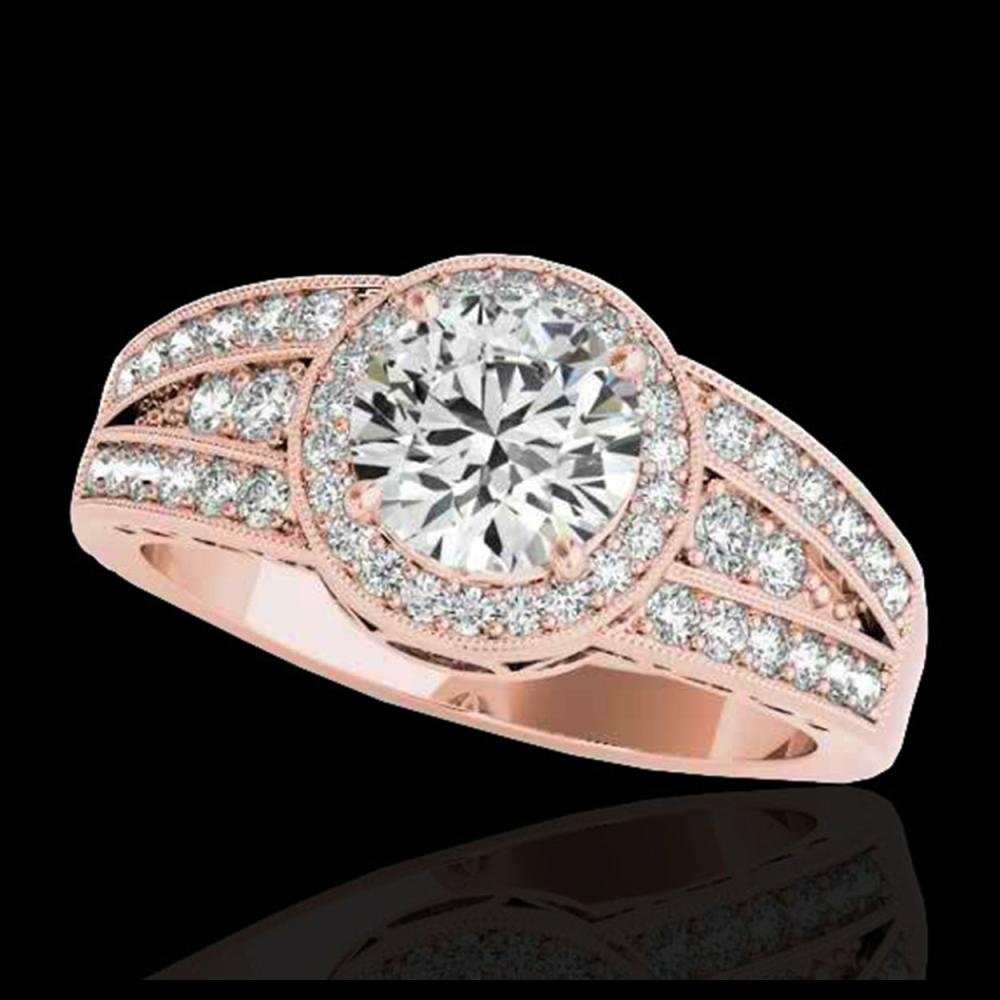 1.50 ctw H-SI/I Diamond Solitaire Halo Ring 10K Rose Gold - REF-211R4K - SKU:34070