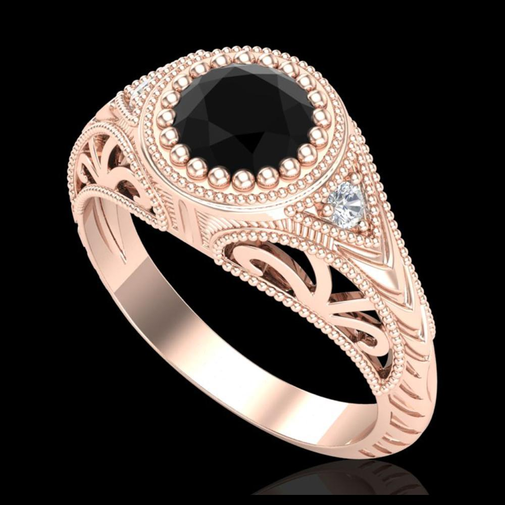 1.07 ctw Fancy Black Diamond Art Deco Ring 18K Rose Gold - REF-72W5H - SKU:37472