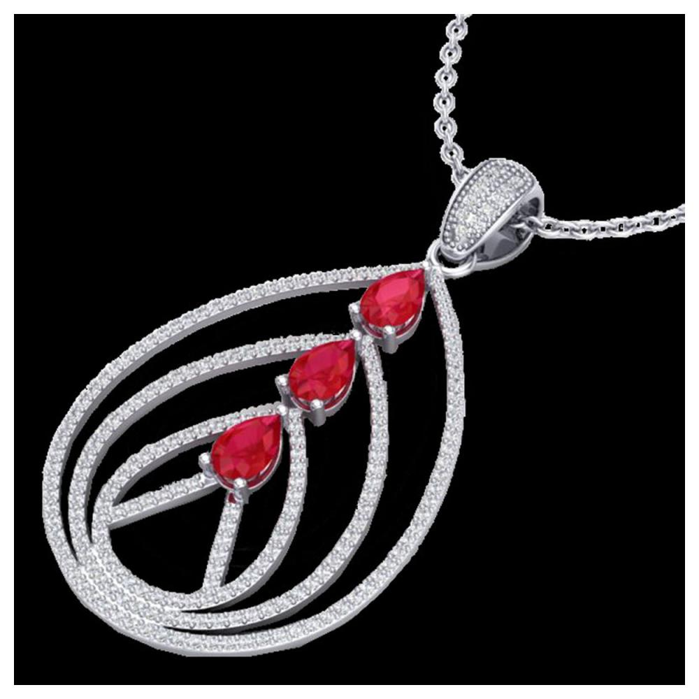 2 ctw Ruby & VS/SI Diamond Necklace 18K White Gold - REF-133K3W - SKU:22469