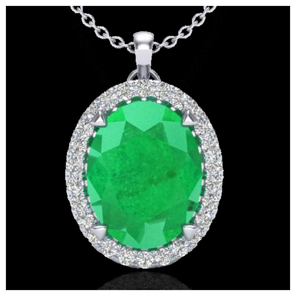 2.75 ctw Emerald & VS/SI Diamond Halo Necklace 18K White Gold - REF-60K2W - SKU:20587