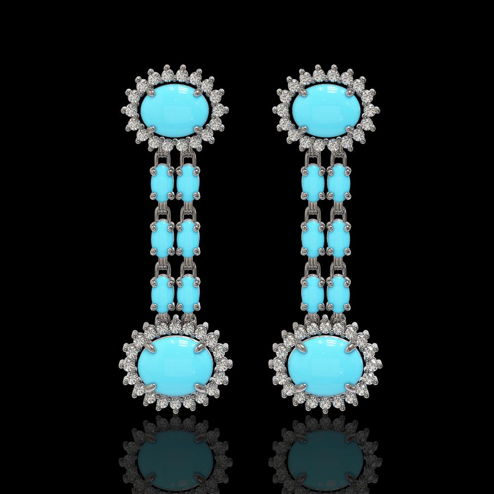 7.39 ctw Turquoise & Diamond Earrings 14K White Gold - REF-143X3R - SKU:44333