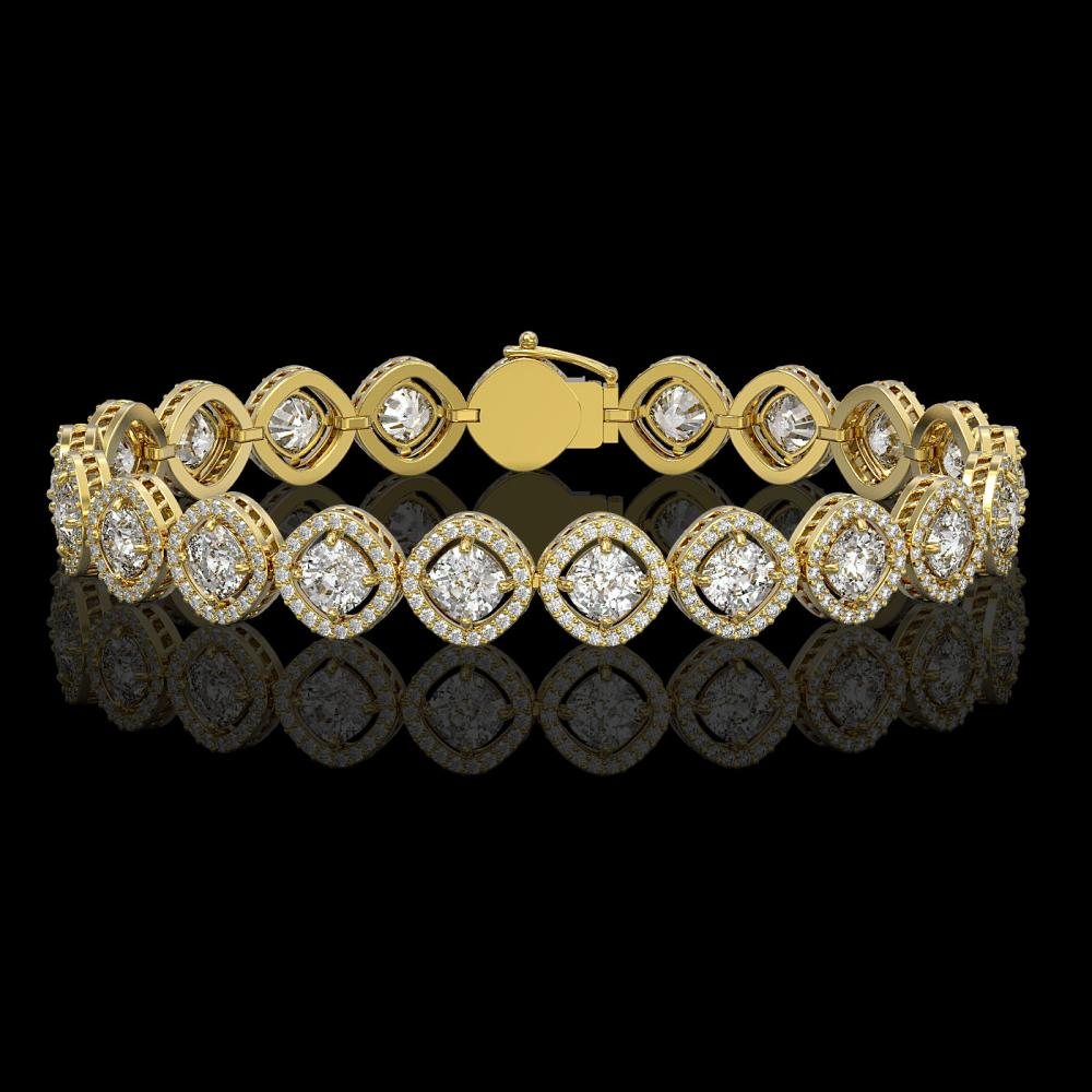 13.06 ctw Cushion Diamond Bracelet 18K Yellow Gold - REF-1690K2W - SKU:42808