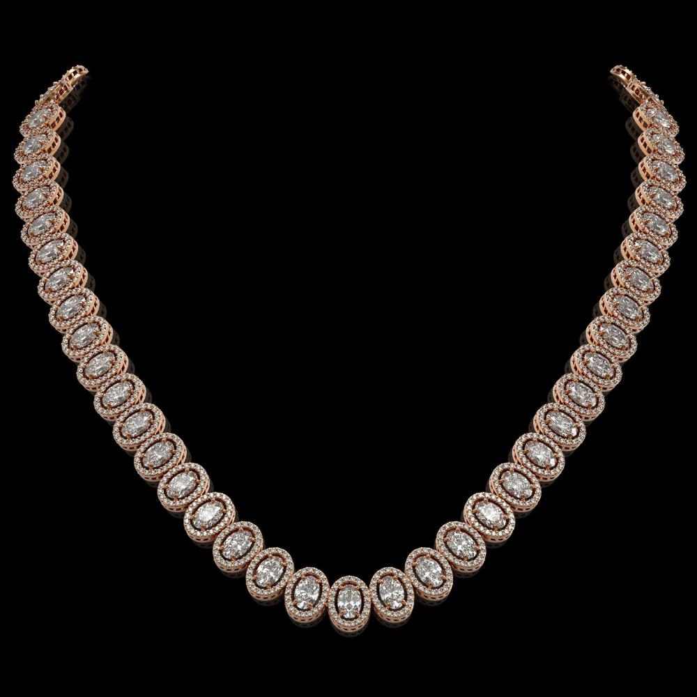 34.72 ctw Oval Diamond Necklace 18K Rose Gold - REF-4700W9H - SKU:42759