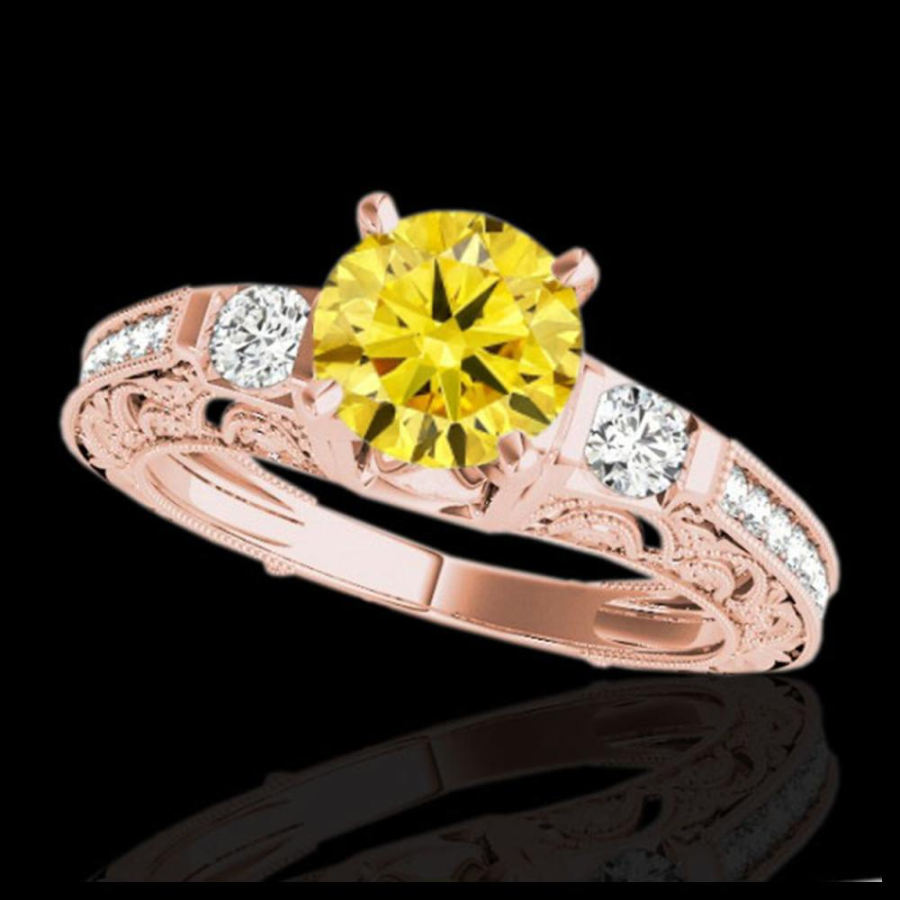 1.63 ctw SI Intense Yellow Diamond Ring 10K Rose Gold - REF-163K6W - SKU:34656